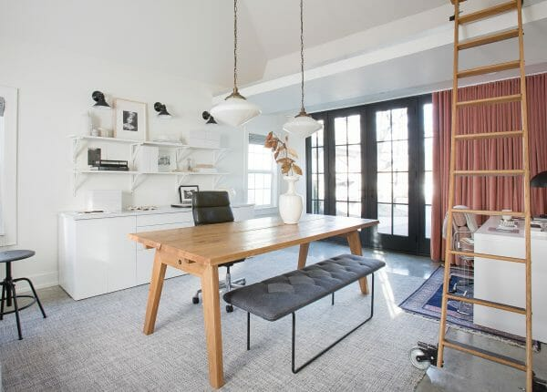 The Makerista uses our Madera table in Oak as a desk and meeting space. Psst - we like your Level bench too!