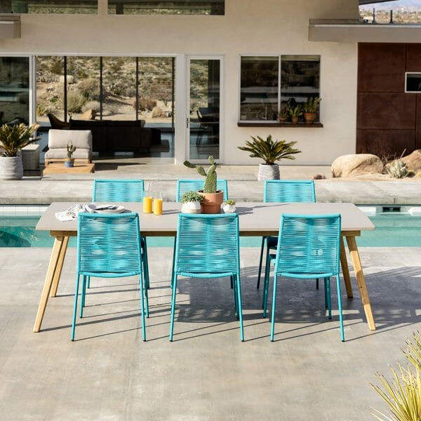 The Zina chairs add some zest to a neutral-forward space. Paired with our concrete-topped Atra dining table, they bring the party while also providing a chill spot to take it all in.