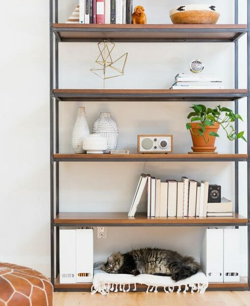 Lisa Fogt teaches a master class in keeping her Archive shelving unit clutter-free and personal. We especially like the cat bed.