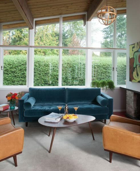 Blue moon. The Sven in Pacific blue looks great paired with other mid-century modern pieces, such as the Nord chairs and the Amoeba coffee table.