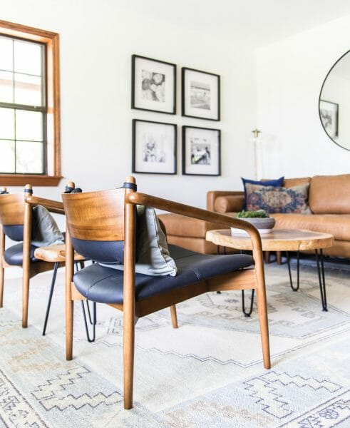 Cozy, but with minimal visual clutter, Maison de Pax chose the Lento chair to wrangle the sitting area together in her ranch-themed living room.