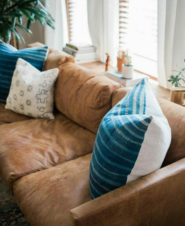 Close-up of Article leather sofa in Emily Suenetz's home