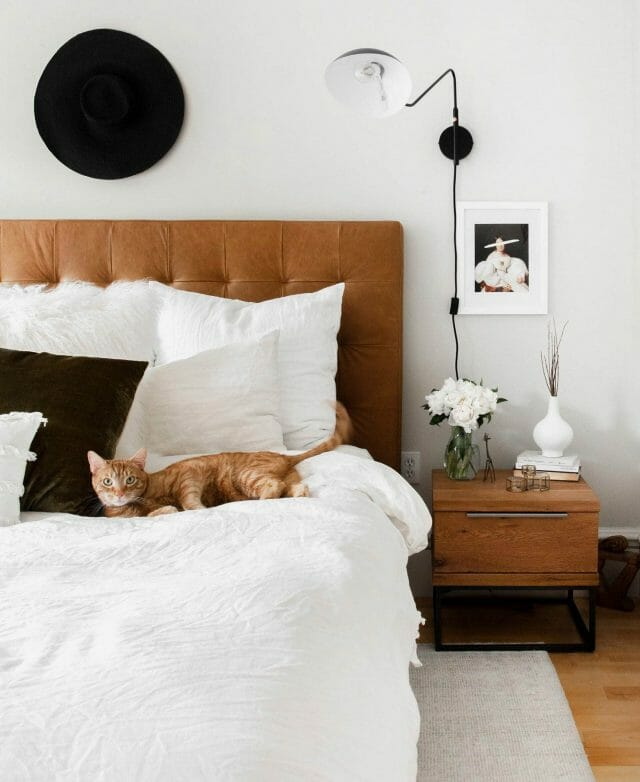 Blogger Broma Bakery lets her cat lounge on her Article bed.