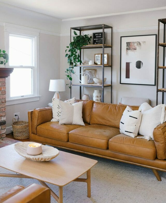 Live Your Style shares her living room featuring the Article Timber sofa in Charme tan leather.