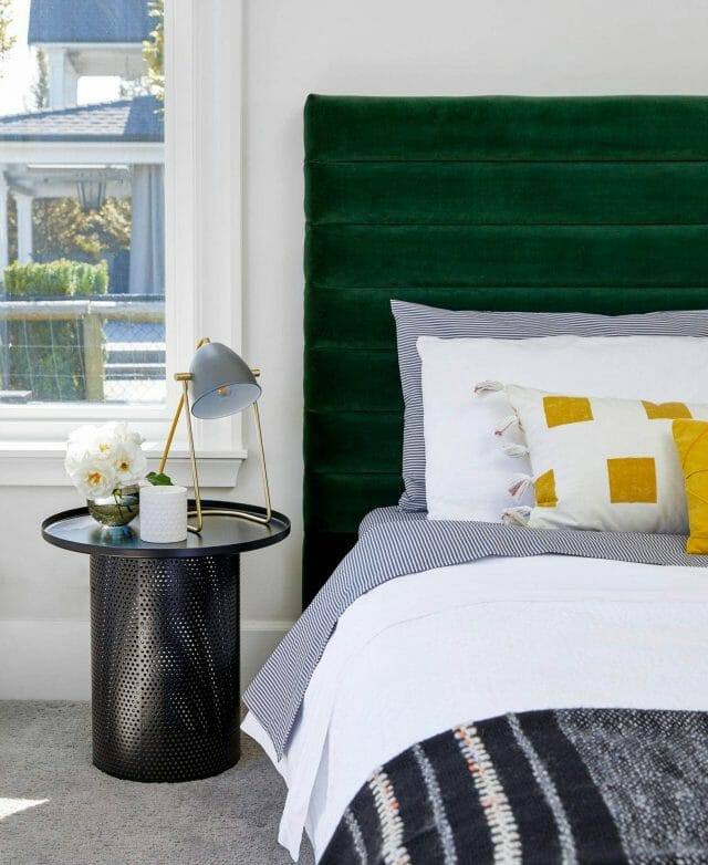 Article's Sera headboard and Equa side table create a mod glam guest bedroom.