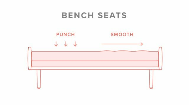 Image showing how to fluff a bench seat cushion