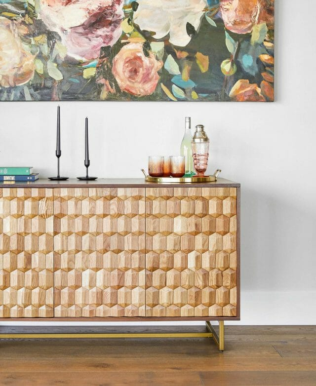 Article's Geome sideboard works great as an impromptu bar.