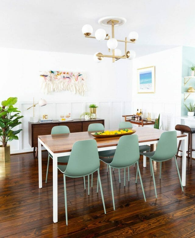 Blogger Sugar and Cloth's dining room featuring Article Svelti chairs in Aloe green.