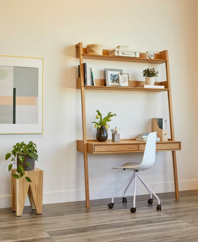 The Article Fantol Oak Desk and white Svelti Desk Chair make the perfect home office space.