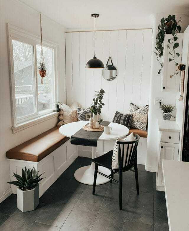 Cloe Thomson's dining nook features plants and a neutral boho palette.