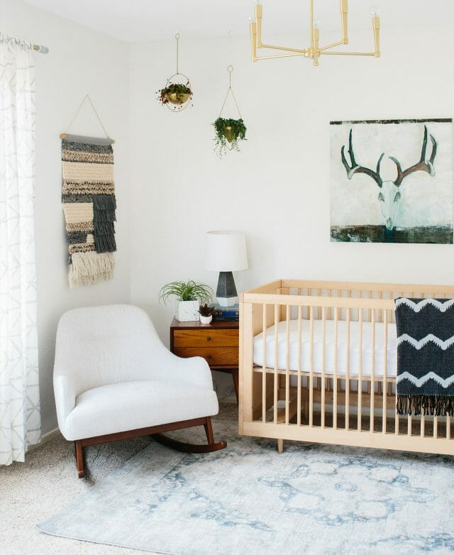 Blogger Ave Styles minimalist nursery features the Embrace Rocking Chair.