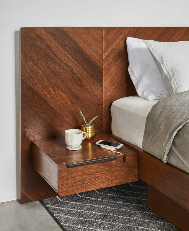 Article's Nera Bed with built-in nightstands is shown in a bedroom.