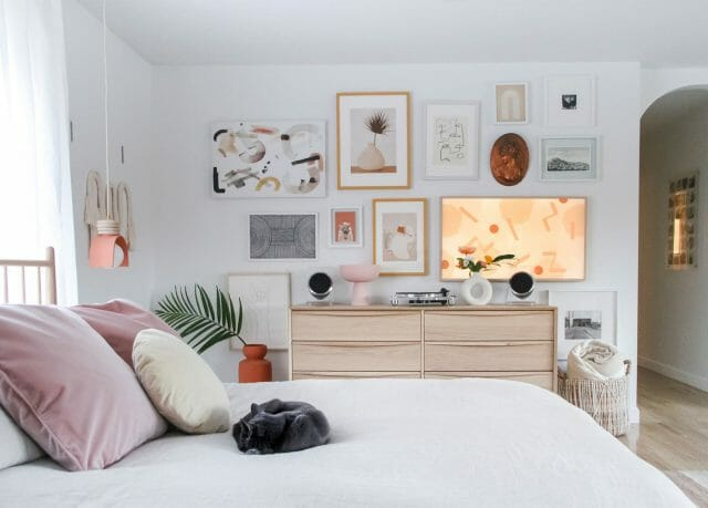 The Lenia White Oak Bed and Dresser are featured alongside a gallery wall.