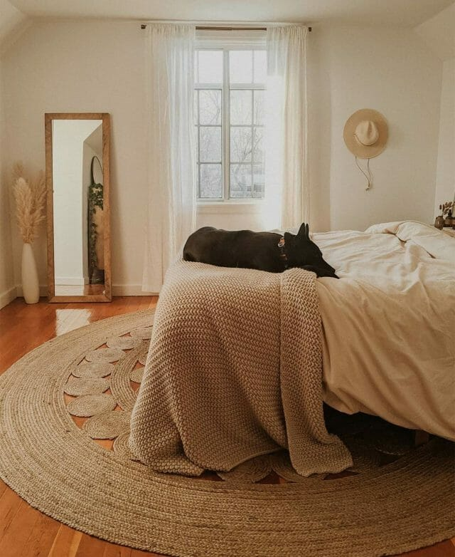 Lizzy Powers dog naps on the bed while the jute Upsa Rug defines the space.