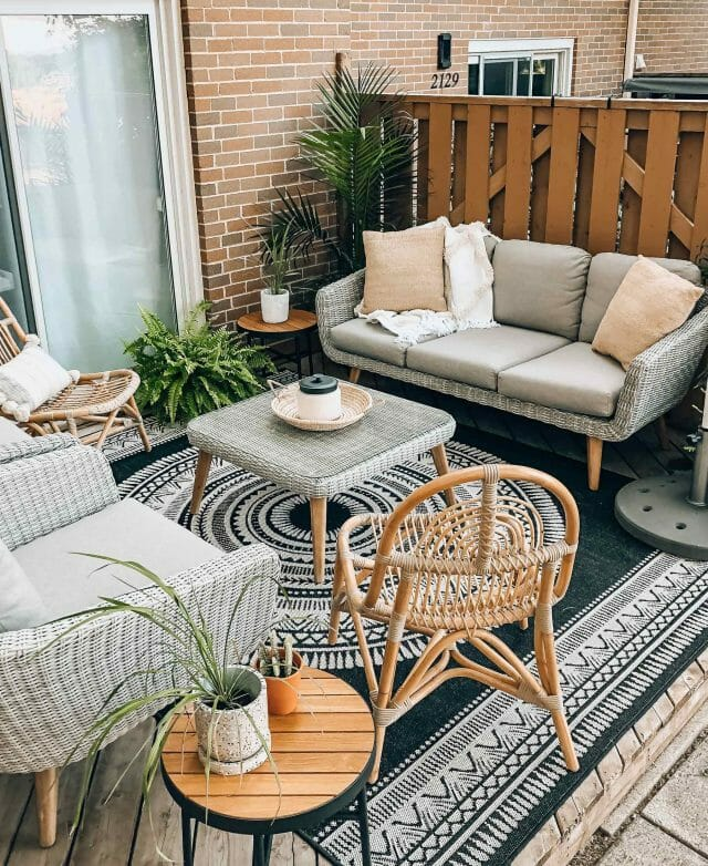 Boneill at Home uses the Ora Sofa and Clea Chair in their apartment patio.