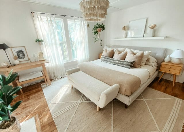 Blogger Amber Denae's bedroom features an ivory bench and calming palette.